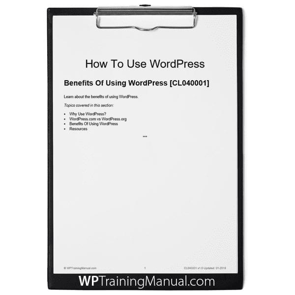 Benefits Of Using WordPress [CL040001]