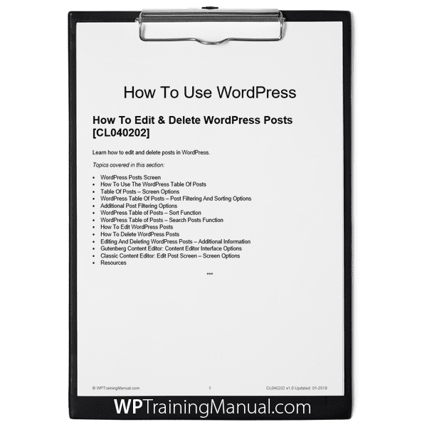 How To Edit & Delete WordPress Posts [CL040202]