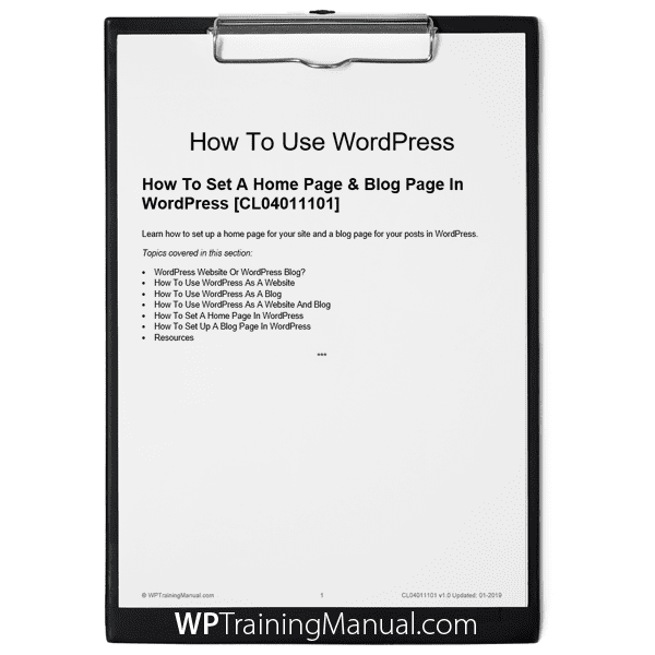 How To Set A Home Page & Blog Page In WordPress [CL04011101]