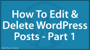 How To Edit And Delete WordPress Posts - Part 1