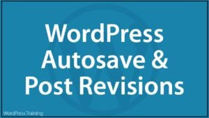 WordPress Autosave And Post Revisions